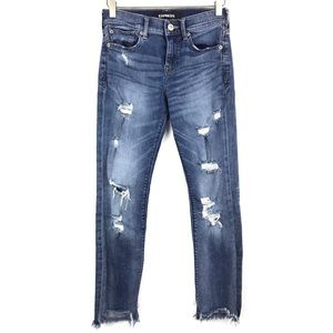 Express Ripped Destroyed Skinny Denim Jeans 0